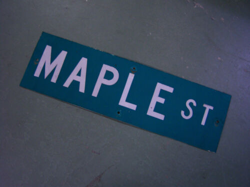 "Vintage ORIGINAL MAPLE ST STREET SIGN WHITE ON GREEN BACKGROUND 30"" X 9"""