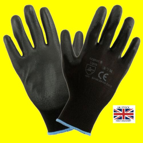 1,12 or 24 Pairs  Black Nylon PU Safety Work Gloves Builders Grip Gardening <br/> The Best Price-Best Quality,Free UK Delivery!!!
