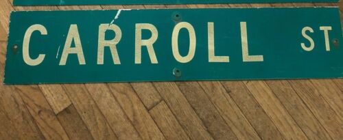 "Vintage ORIGINAL CARROLL ST STREET SIGN 42"" X 9"" WHITE LETTERING ON GREEN"