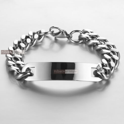 Stainless Steel Curb Chain ID Bracelet Name Tag Engravable high polished X-LARGE