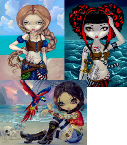 Jasmine Becket-Griffith SIGNED Pirates Molly Betsy & Polly set of 3 art prints