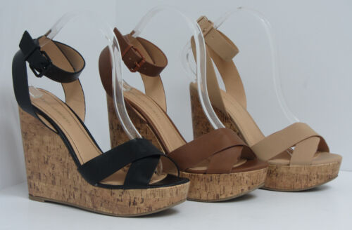 Ankle Strap PU-Leather Womens Wedge Platform Shoes Sandals Cork High Heel