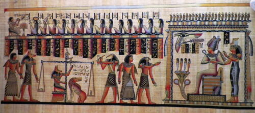 """Egyptian Papyrus  HandMade Painting,size 70x170cm (28""""x68"""") Judgement Day (244)"""