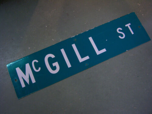 "Vintage ORIGINAL MCGILL ST STREET SIGN WHITE ON GREEN BACKGROUND 36"" X 9"""