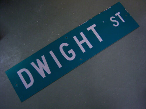 "Vintage ORIGINAL DWIGHT ST STREET SIGN WHITE ON GREEN BACKGROUND 36"" X 9"""