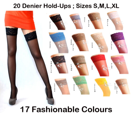 NEW Lace Top 20 Denier Sheer Hold Ups Stockings 17 Various Colours- Sizes S-XL