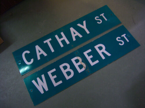 "1 - 2 SIDED CATHAY ST / WEBBER ST STREET SIGN WHITE ON GREEN BACKGROUND 36"" X 9"""
