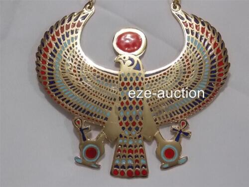 Large Egyptian Amulet Hand Made Falcon Enameled Brass Pectoral Necklace