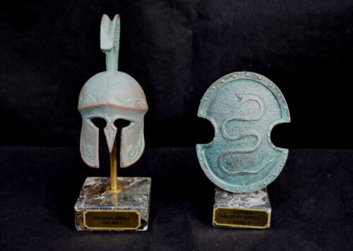 Ancient Greek Carved Helmet and Snake carved shield marble based clr-cpr/green