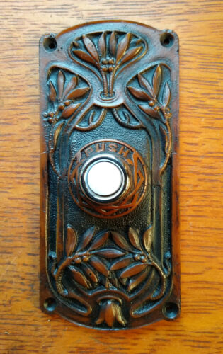 "New Victorian Craftsman Eastlake ""Olive Tree"" Lighted Doorbell Button"