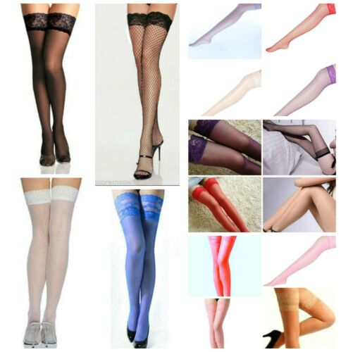NEW SEXY LACE TOP HOLD UPS STOCKINGS FISHNET SHEER Elasticated or silicone strip <br/> BUY 5 AND GET 1 FREE.