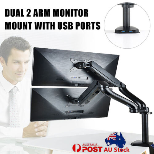 Dual Arm HD LCD Desktop Mount LED Screen Monitor Stand with USB Ports