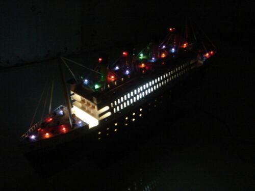 "Titanic wooden model cruise ship w/flashing lights 24"" fully assembly"