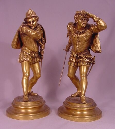 Pair of Antique Gilt Bronze Cavaliers Inscribed Ele.Guillemin (French 1841-1907)