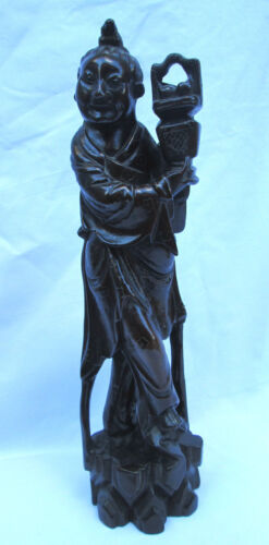 Antique Chinese Carved Wooden Figure  w/ Basket,  Silver Metal Inlay, Excellent!