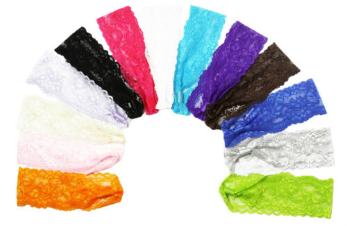 """Lot of (12) - 2"""" Lace Headbands - You Pick Colors!  15 Color Choices!"""