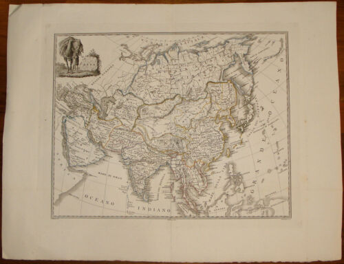 Old map stampa antica Asia Giosuè Russo engraving gravure etching incisione