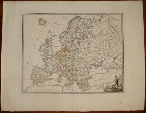 Old map Europa Europe Giosuè Russo incisione old print etching gravure