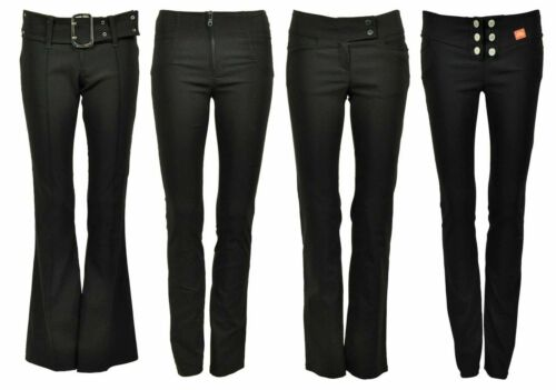 NEW WOMENS PLAIN BLACK STRETCH HIPSTER LADIES TROUSERS