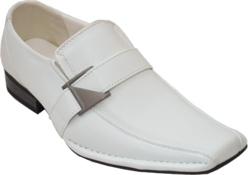MEN'S DRESS LOAFERS QUALITY STYLISH FORMAL PARTY SHOES WHITE SANTO