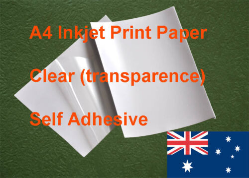 10 X A4 Clear Label Self Adhesive Sticker Inkjet Print Paper ( transparence )
