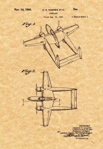Patent Print - Howard Hughes Airplane 1944 - Aviation - Ready To be Framed!