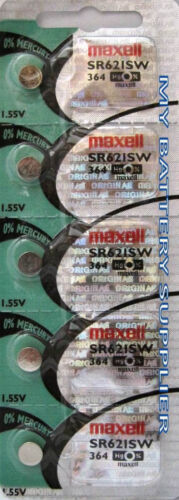 FIVE (5) MAXELL SR621SW 364 WATCH BATTERY SILVER OXIDE