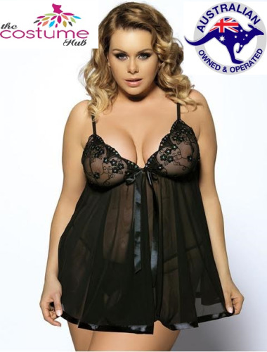BLACK Sexy Sequin Lingerie Babydoll Nighty Chemise 8 - PLUS Size 26