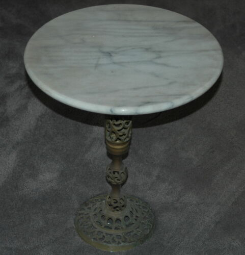 Vintage Mid Century Modern White / Grey Marble & Brass Side Table / Plant Stand