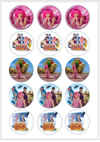 "LAZY TOWN Personalised 7.5/"" Edible Cup Cake Topper Icing Wafer Birthday Party"
