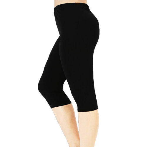 Cotton Spandex Capri Leggings Crop Yoga pants Women Size S - 5XL 32 Colors USA