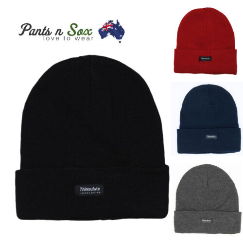 a49d4034f21 Mens INSULATION POLAR FLEECE BEANIES WINTER Thermal Knitted THINSULATE AU  Stock
