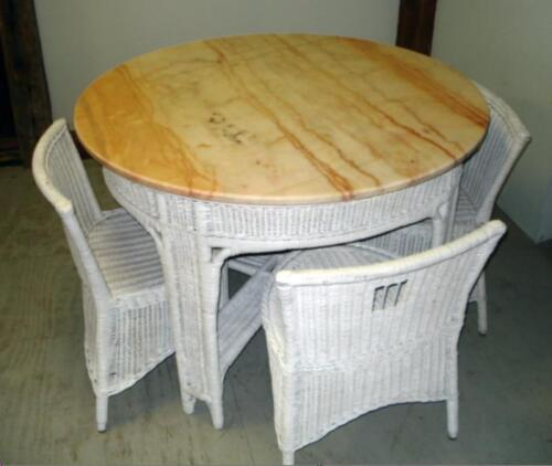 ANTIQUE WICKER DINING TABLE & 4 CHAIRS, Heywood Wakefield Style MARBLE TOP 1930s