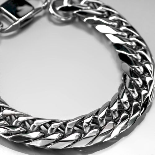 Siver bikies chain Stainless Steel Bracelet thick heavy solid extra large