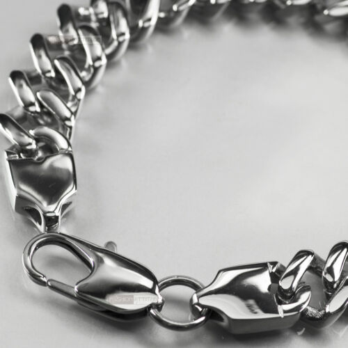 Silver Bracelet Stainless Steel link chain mens high polished 21cm