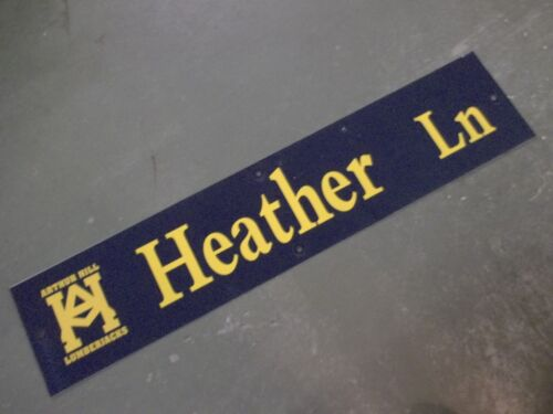 "Vintage ARTHUR HILL / HEATHER Ln STREET SIGN 42"" X 9"" GOLD LETTERING ON BLUE"