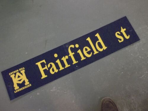 "Vintage ARTHUR HILL / FAIRFIELD St STREET SIGN 42"" X 9"" GOLD LETTERING ON BLUE"