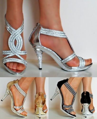 New Womens Party Prom Diamante Ankle Straps Mid Heel Shoes Sandals Size-6606