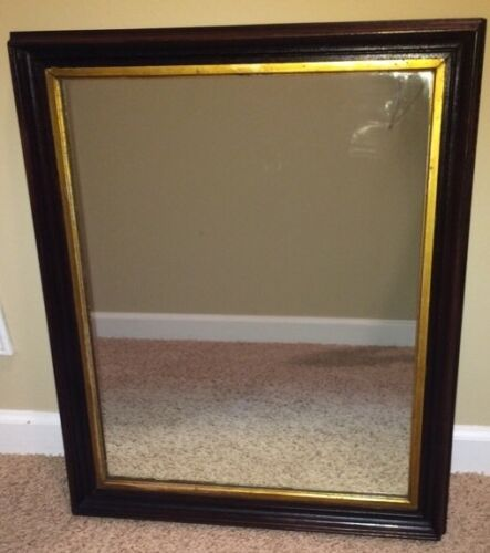Antique Deep Well Large Gold  Graduated  Picture Frame Mirror Heavy ! 20 X 25