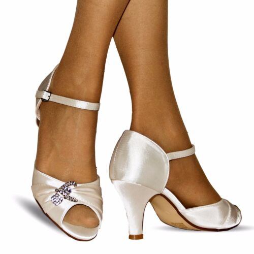 New Womens Wedding Bridal Diamante Ivory Satin Low Mid Heel Sandals Shoes Size03