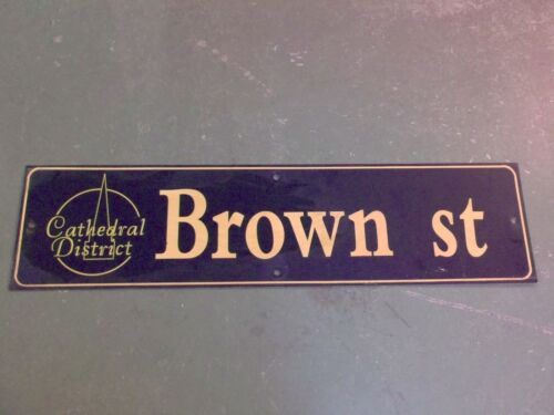"""Vintage BROWN ST Cathedral District Street Sign 36"""" X 9"""" - GOLD on NAVY Ground"""