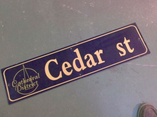 """Vintage CEDAR ST Cathedral District Street Sign 36"""" X 9"""" - GOLD on NAVY Ground"""