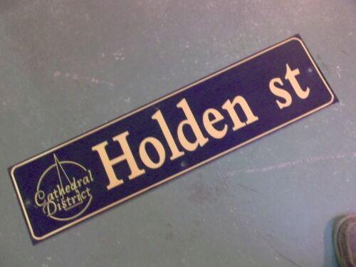 """Vintage HOLDEN ST Cathedral District Street Sign 36"""" X 9"""" - GOLD on NAVY Ground"""