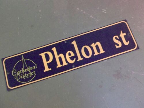 """Vintage PHELON ST Cathedral District Street Sign 36"""" X 9"""" - GOLD on NAVY Ground"""