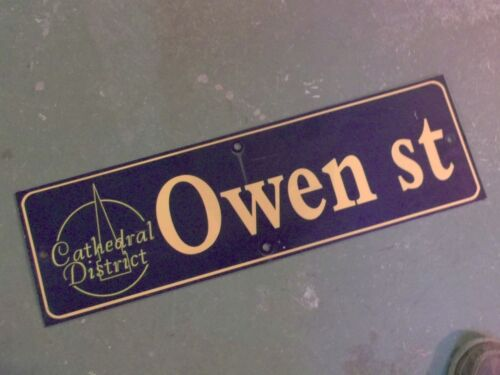 """Vintage OWEN ST Cathedral District Street Sign 30"""" X 9"""" - GOLD on NAVY Ground"""