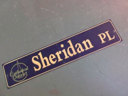 """Vintage SHERIDAN PL Cathedral District Street Sign 42"""" X 9"""" -GOLD on NAVY Ground"""