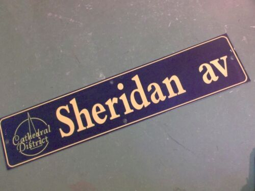 """Vintage SHERIDAN AV Cathedral District Street Sign 42"""" X 9"""" -GOLD on NAVY Ground"""