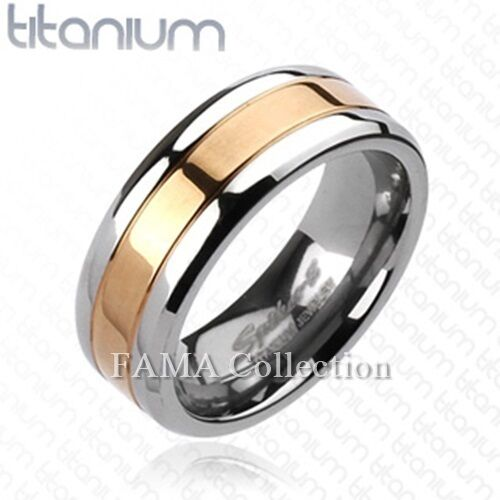 Top Quality FAMA Solid TITANIUM Rose Gold IP Center Wedding Band Ring Size 9-13