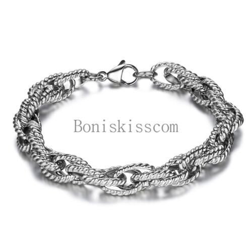 2016 Unique Men's Stainless Steel Chain Bracelet 8 Inches Length Silver Tone