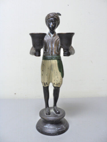 "UNUSUAL NOVELTY BRONZE COLD PAINTED ""BLACKAMOOR"" 2-LITE CANDLEHOLDER"